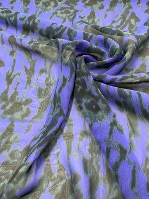 Abstract Floral Printed Silk Chiffon - Purple / Black / Grey