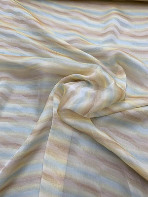 Italian Diagonal Chevron Striped Printed Silk Chiffon - Yellow / Sky Blue / Mocha