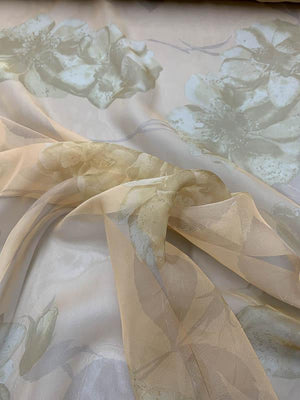 Floral Bouquet Printed Satin Silk Chiffon - Peach / Olive