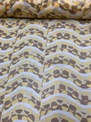 Uneven Waves Dotted Printed Satin Silk Chiffon - Yellow / Tan / Brown