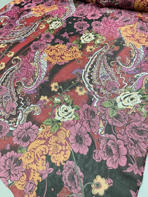 Bohemian Graphic Floral Paisley Printed Silk Chiffon - Multicolor