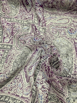 Paisley Printed Crinkled Silk Chiffon - Plum / Grey / Off-White