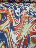 Tie-Dye Marble Satin-Finished Printed Silk Chiffon - Multicolor