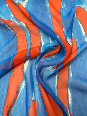 Painterly Streaks Printed Silk Chiffon - Red / White / Blue