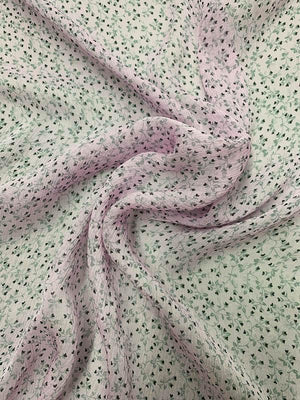 Mini Hearts Printed Crinkled Silk Chiffon - Lilac / Black / Grey