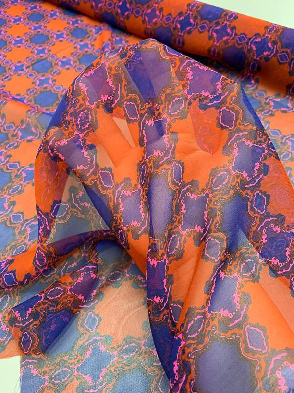 Medallion Printed Silk Chiffon - Brick / Indigo / Hot Pink