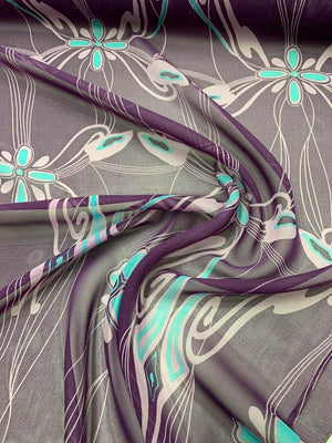 Graphic Floral Vines Printed Silk Chiffon - Purple / Lavender / Turquoise