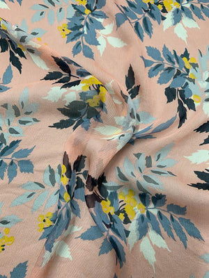 Leaf Bouquet Printed Crinkled Silk Chiffon - Peachy Pink / Grey / Navy / Yellow