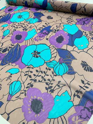 Graphic Floral Printed Silk Chiffon - Teal / Purple / Blue / Mocha