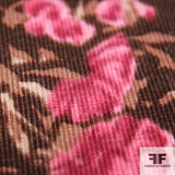 Bouquet Print Cotton Corduroy -Pink/Brown - Fabrics & Fabrics NY