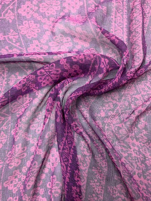 Bohemian Floral Printed Crinkled Silk Chiffon - Purple