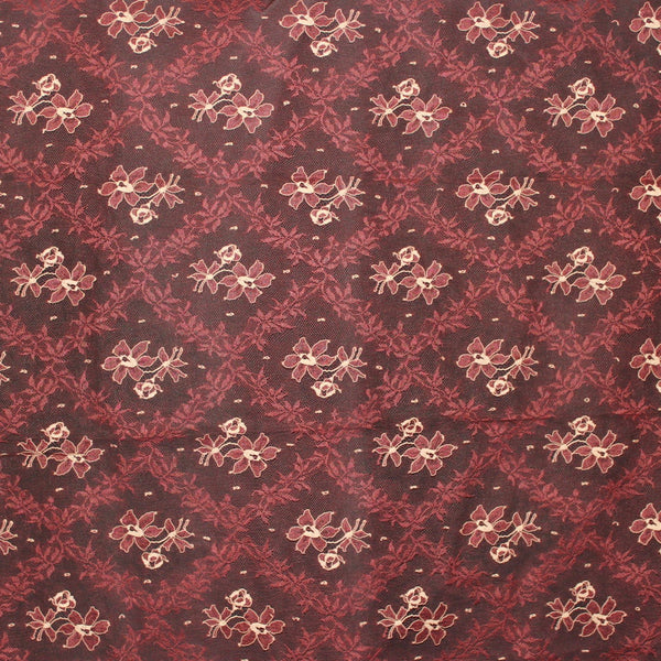 Diamond Floral Chantilly Lace - Burgundy/Beige - Fabrics & Fabrics NY