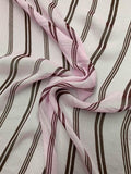 Striped Printed Crinkled Silk Chiffon - Lilac / Maroon