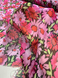 Floral Printed Crinkled Silk Chiffon - Lavender / Red / Green