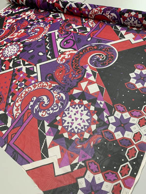 Geometric Paisley Printed Silk Chiffon - Purple / Red / Black / White