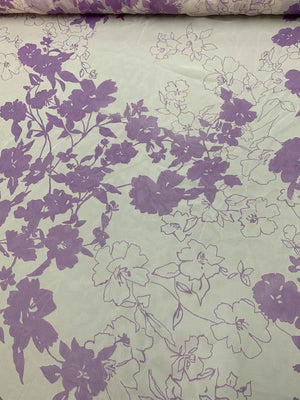 Floral Printed Silk Chiffon - Purple / Off-White