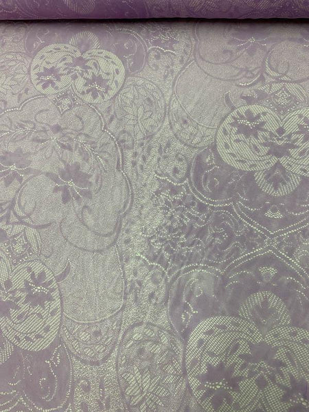Floral Medallions Printed Silk Chiffon - Lavender / Light Grey