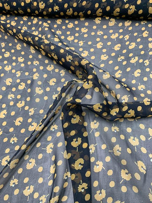 Graphic Floral Polka Dot Printed Silk Chiffon - Black / Yellow
