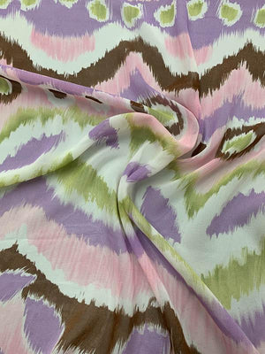 Abstract Ikat Printed Silk Chiffon - Pink / Lavender / Lilac / Green