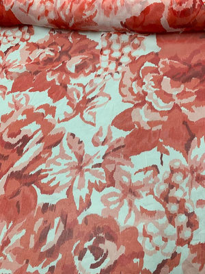 Romantic Floral Printed Crinkled Silk Chiffon - Lipstick Red / White
