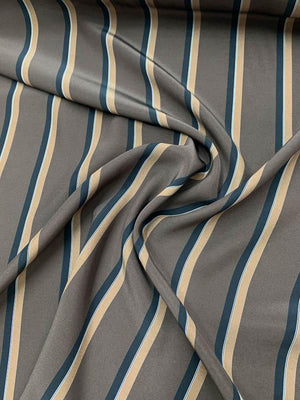 Striped Matte-Printed Silk Charmeuse - Chocolate / Black