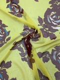 Graphic Large Floral Printed Silk Chiffon - Mustard / Maroon