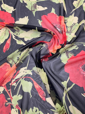 Large Floral Printed Silk Chiffon - Red / Green / Black