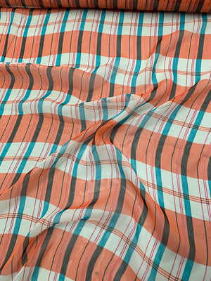 Plaid-Like Printed Silk Chiffon - Coral / Teal / White