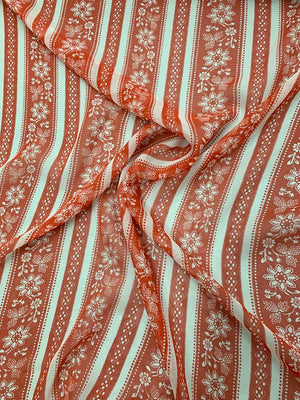 Striped Floral Printed Silk Chiffon - Red / White