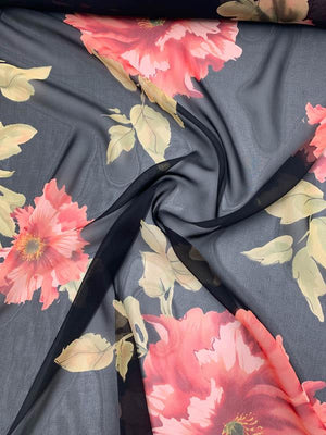 Large Floral Printed Silk Chiffon - Blush / Green / Black