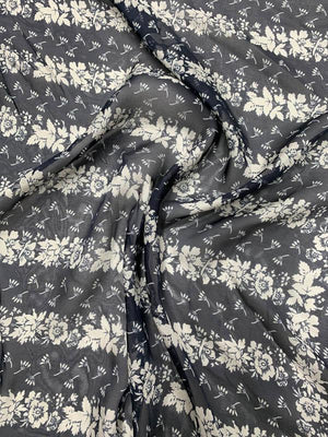 Striped Floral Border Printed Silk Chiffon - Navy Blue / Grey