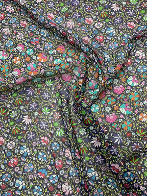Floral Laurel Wreath Printed Silk Chiffon - Multicolor