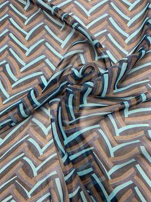 Chevron-Style Printed Silk Chiffon - Navy Blue / Sky Blue / Brown