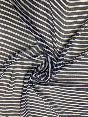Striped Printed Crinkled Silk Chiffon - Navy / White