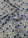 Sweet Floral Printed Silk Chiffon - Blue / White