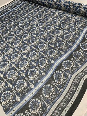 Medallion Border Printed Silk Chiffon - Blue / Black / Grey