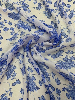 Floral Border Printed Crinkled Silk Chiffon - Blue / Indigo