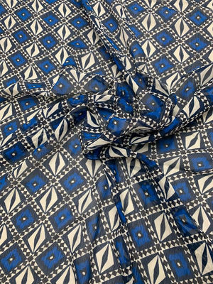Geometric Printed Crinkled Silk Chiffon - Blue / Navy / White