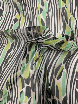 Jungle-Inspired Printed Crinkled Silk Chiffon - Mint / Lime / Black / White