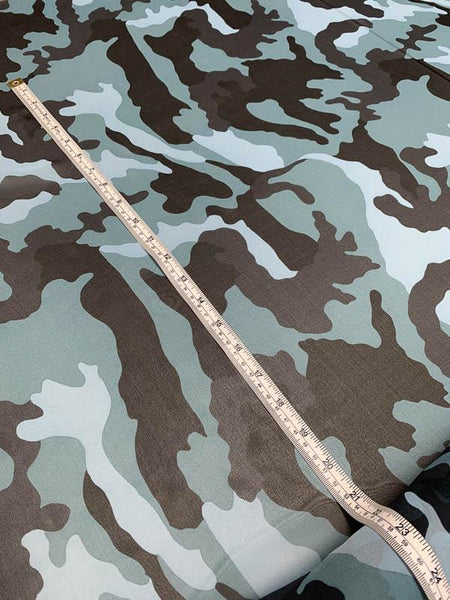 Camouflage Printed Silk Chiffon - Teal / Light Blue / Black