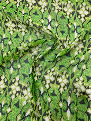 Medieval Graphic Printed Crinkled Silk Chiffon - Lime / Green / Black / White