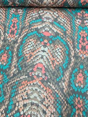 Abstract Snakeskin Printed Silk Chiffon - Multicolor