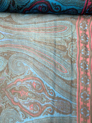 Paisley Printed Crinkled Silk Chiffon - Teal / Plum / Black