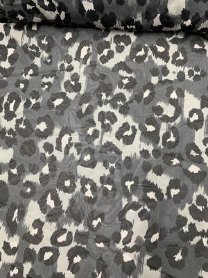 Jaguar Printed Silk Chiffon - Grey / Black