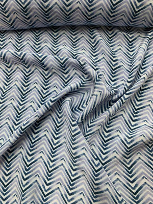 Chevron Printed Silk Crepe de Chine - Blue / Grey