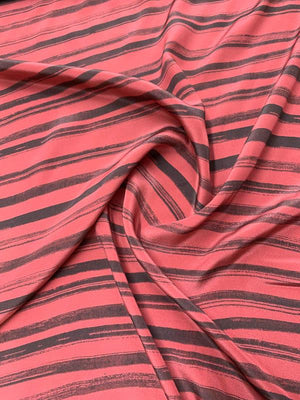 Striped Printed Silk Crepe de Chine - Dark Mauve / Dark Grey