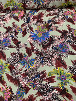 Paisley & Brushstroke Printed Silk Crepe de Chine - Multicolor