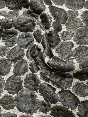 Italian Metallic Raised Floral Novelty Brocade - Gunmetal Grey / White