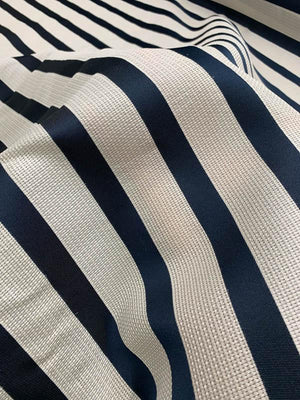 Italian Novelty Striped Basketweave Heavy Silk Gazar - Navy / Off-White