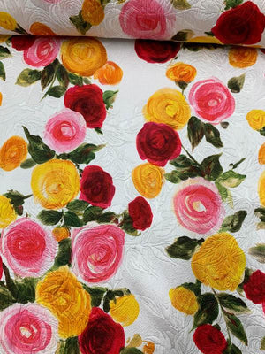 Italian Floral Jacquard Cotton Brocade - Multicolor